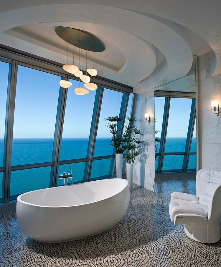 Top millionaire bathroom astonishing-bathroom-decor-idea-with-splendid-white-bathtub-under-cute-decorative-pendant-lamps