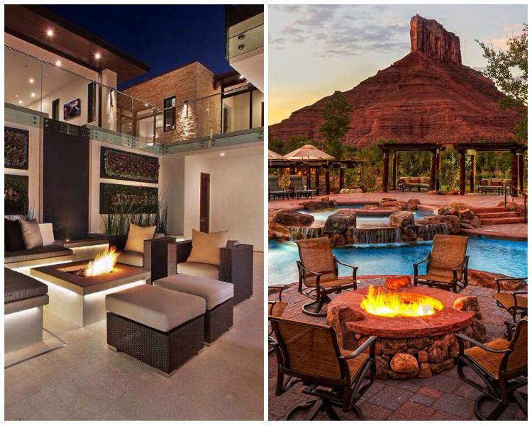stunning luxury exterior fireplaces15