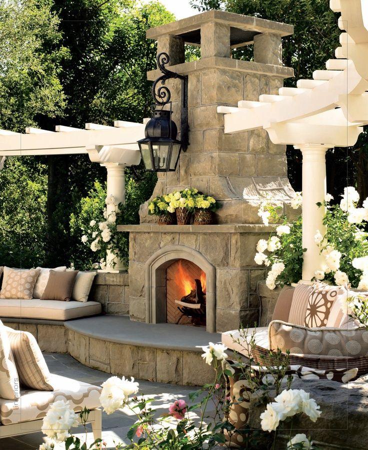 stunning luxury exterior fireplaces9